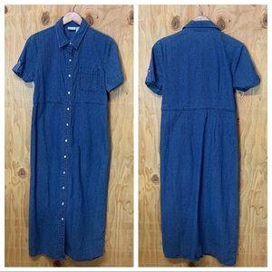 Vintage Chambray Blue Button T-Shirt Long Dress